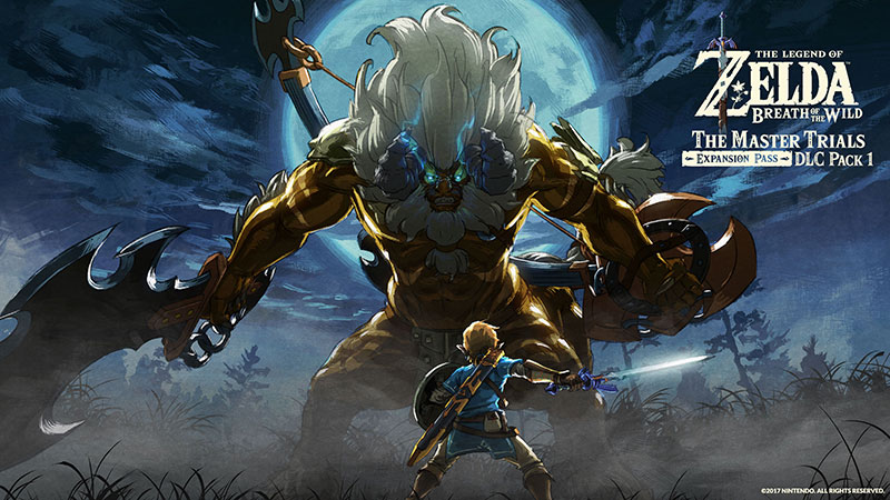 Download wallpaper of Link facing off against Gold Lynel in artwork from DLC Pack 1.
