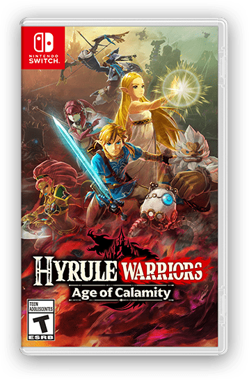 The Hyrule Warriors: Age of Calamity game package is shown.